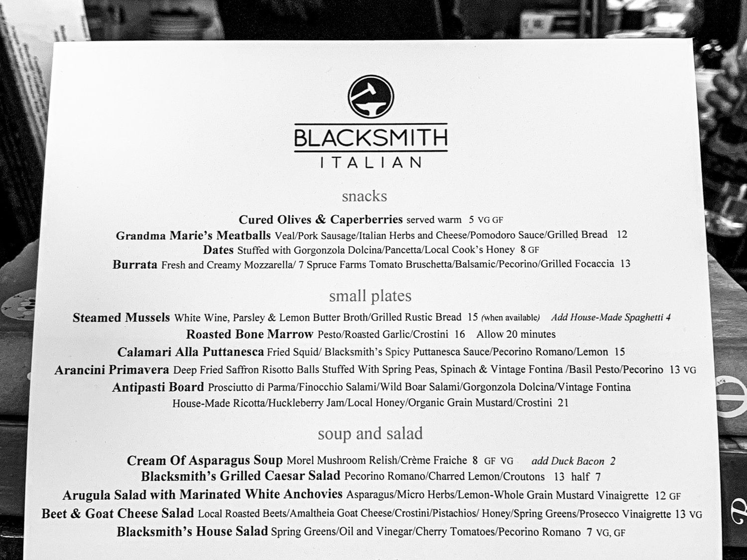 Dinner at Blacksmith Italian – A Truly Magnificent Meal by Steven Shomler Culinary Treasure Network